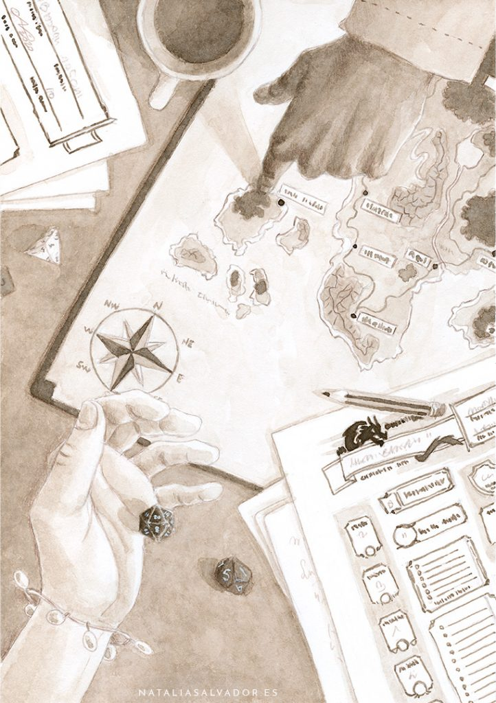 Ink illustration of a table where people are playing role playing games