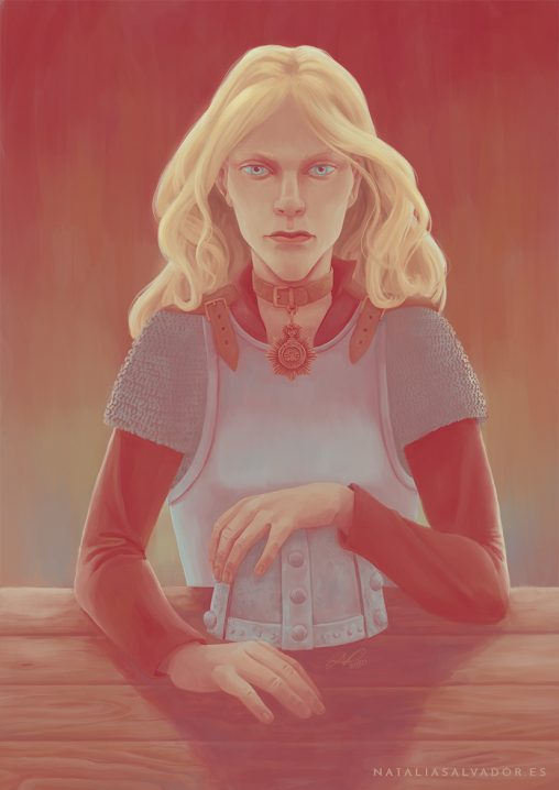 Digital illustration of Angua von Überwald from Terry Pratchett's Discworld