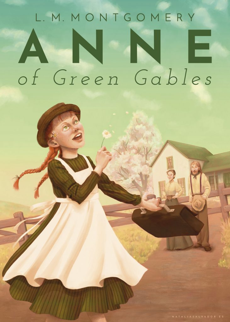 Anne of Green Gables cover illustration with lettering by Natalia Salvador