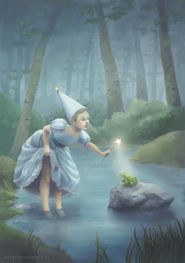 Digital illustration of a little girl playing with a frog