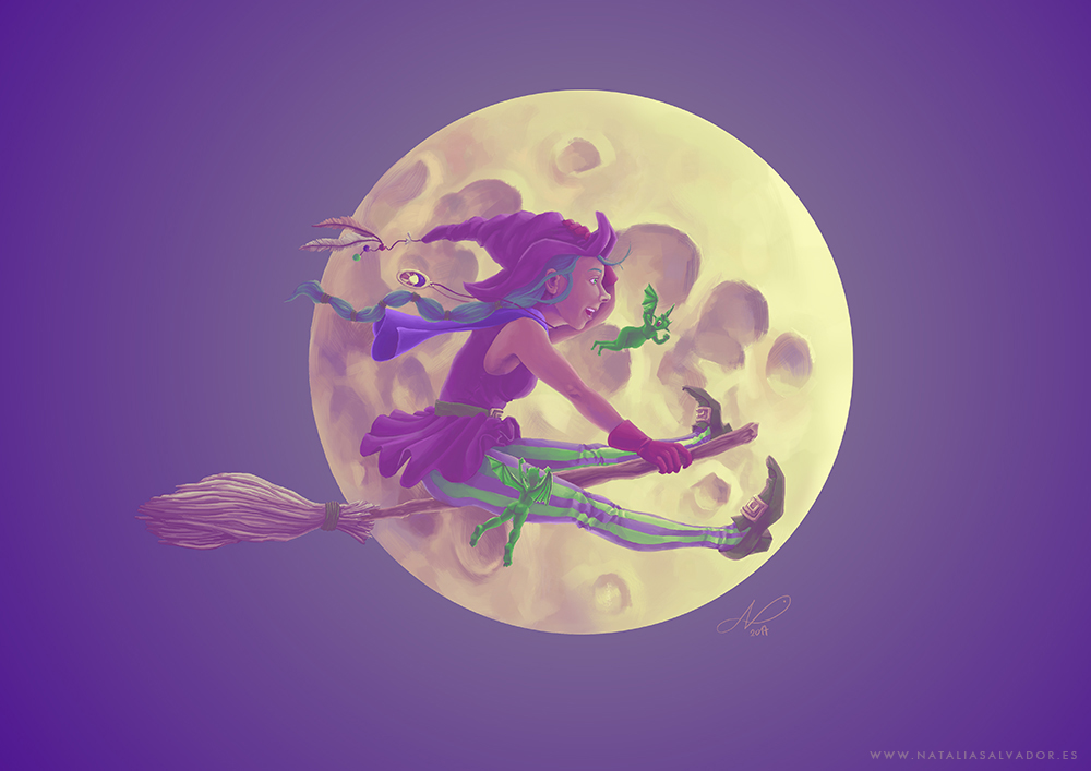 Digital illustration of a witch with her broomstick flying in front of the moon, being chased by two little green demons