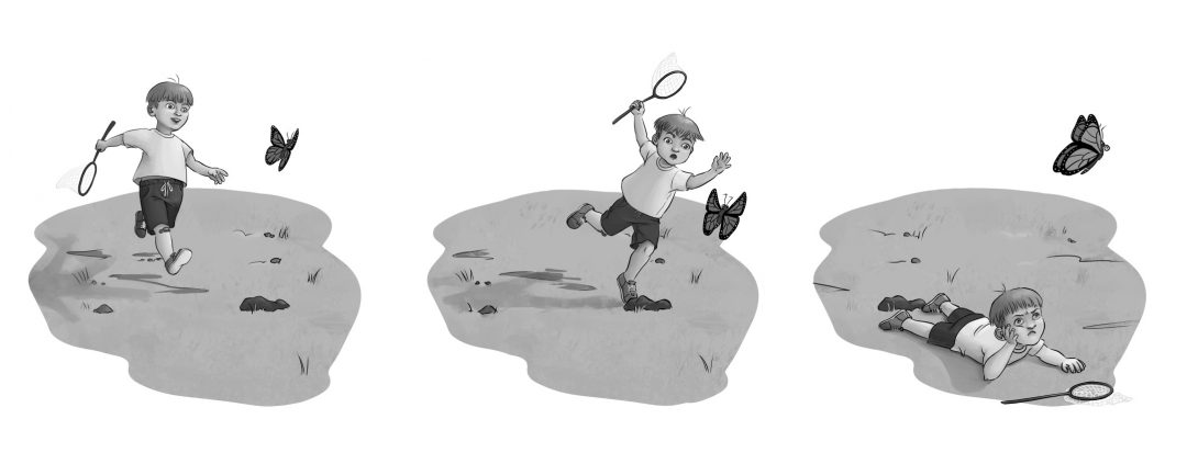 Illustration of a little boy chasing a butterfly
