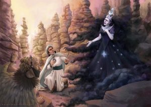 Digital illustration of The Queen of the Night talking to Tamino by Natalia Salvador