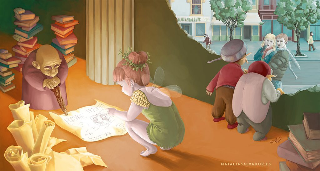 Digital illustration of magic creatures looking for ways to enter our world