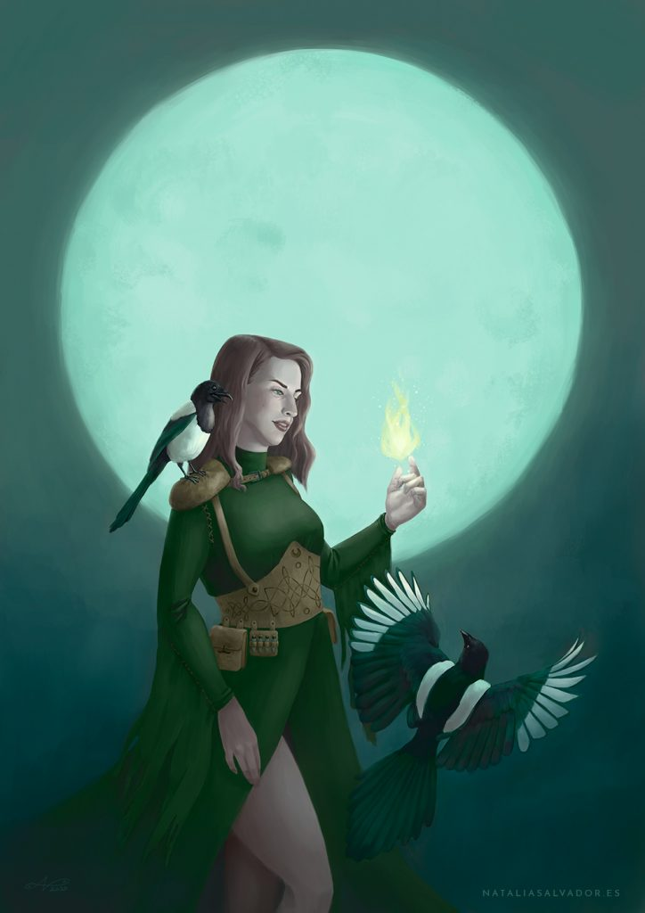 Digital illustration of a good witch in front of the moon with her two magpie friends