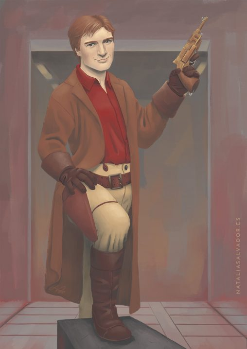 Digital illustration of Captain Malcolm Reynolds from Firefly by Natalia Salvador