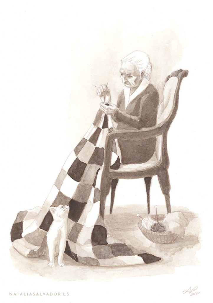 An old woman sewing a quilt