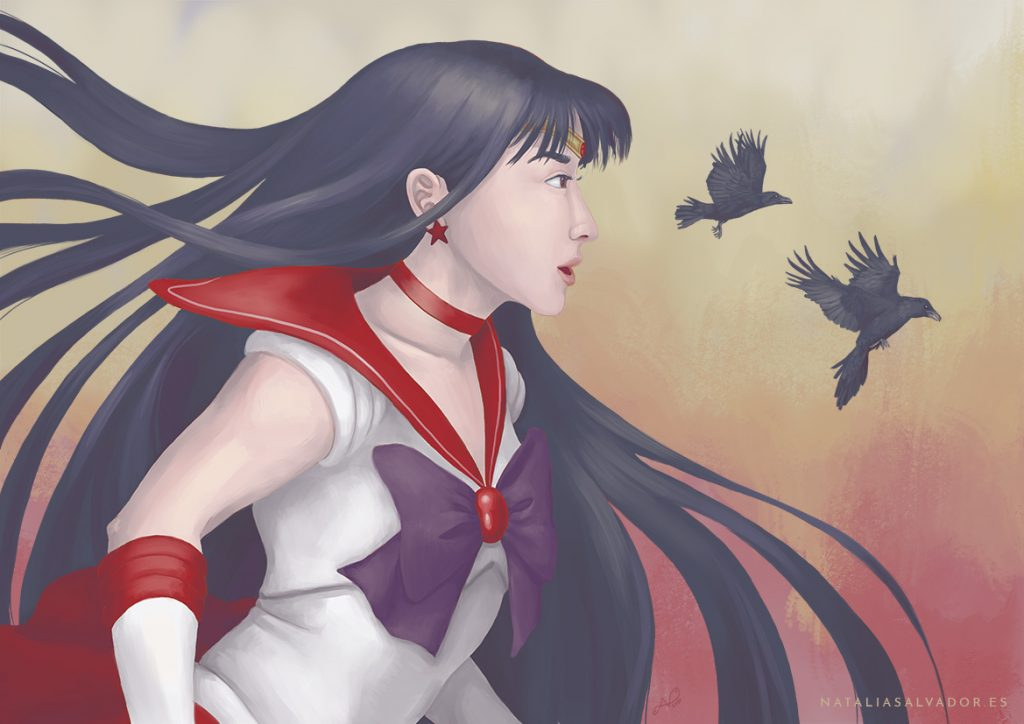 Sailor Mars from Sailormoon digital illustration by Natalia Salvador