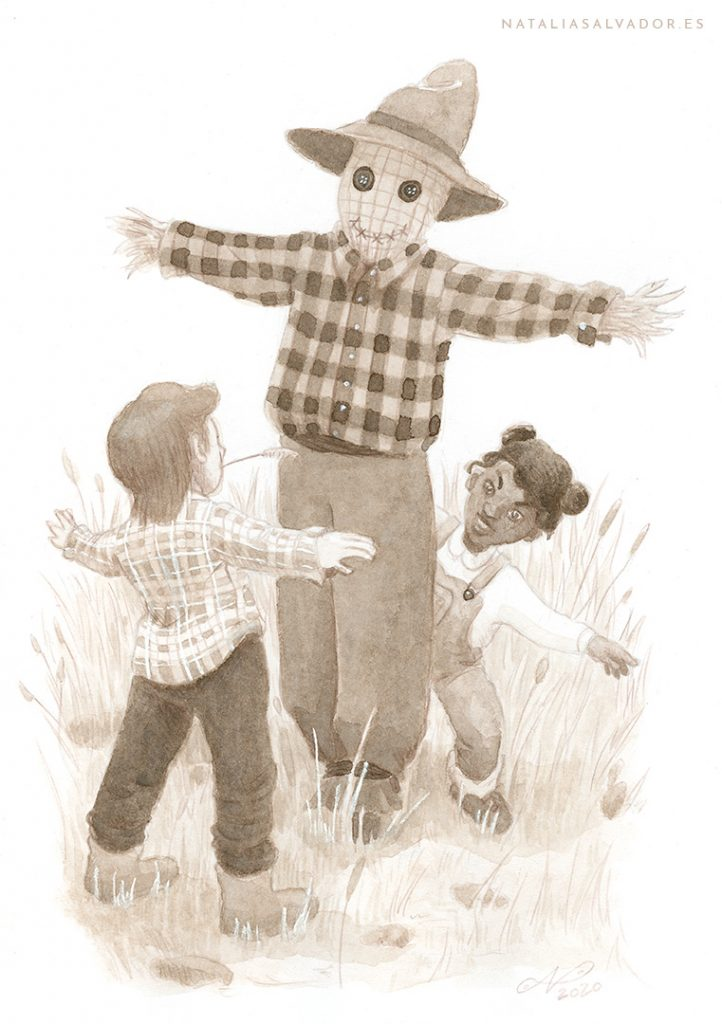 Two children playing around a scarecrow
