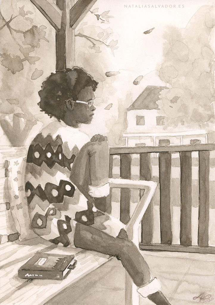 Ink drawing of an autumnal scene where a girl is sitting at her porch wearing a cozy sweater