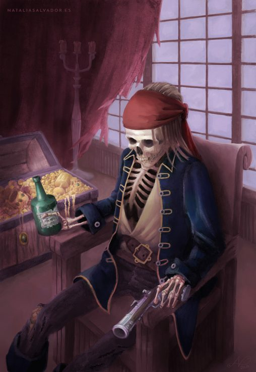 Treasure Keeper, digital illustration of a pirate skeleton by Natalia Salvador